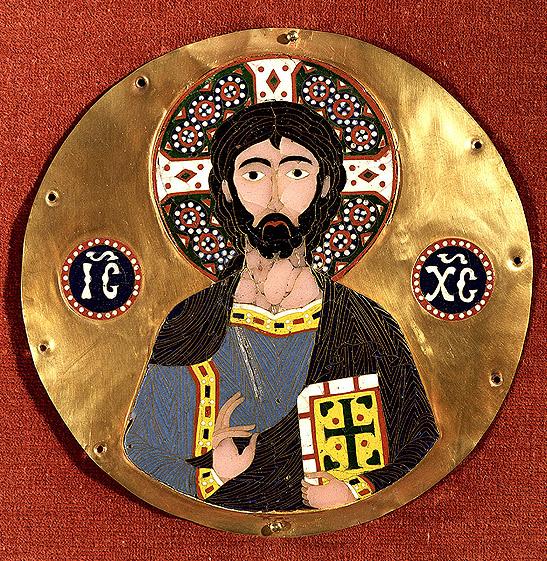 """Placa de esmalte """"Cristo bendiciendo"""". Rusia, 1892-1910. Oro y esmalte"""