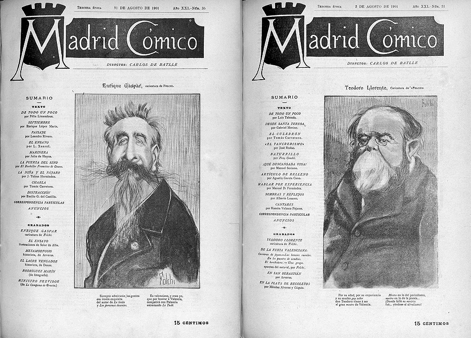 "Portadas de ""Madrid Cómico"" ilustradas por Folchi"