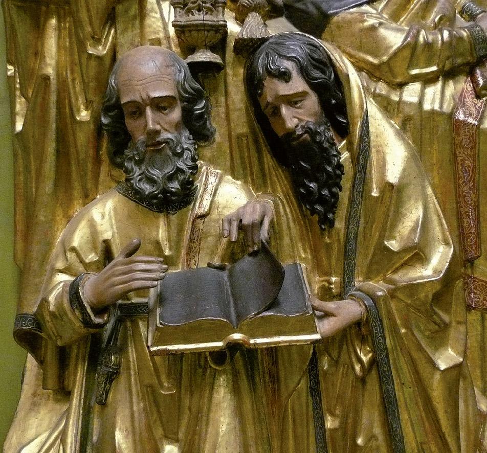 """Carles Gonçalbez: """"El Tránsito de la Virgen"""", 1498. Detalle de los apóstoles de la Dormición. Museo Catedralicio Diocesano, Valencia."""