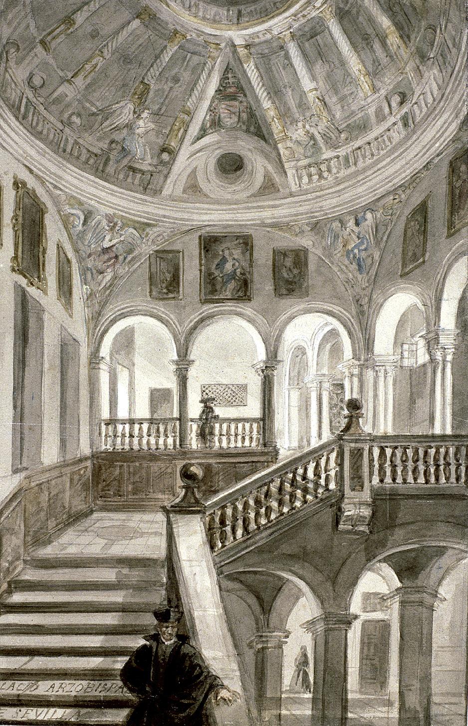 Valentín Carderera: Interior del Palacio Arzobispal de Sevilla, ca. 1850. Museo Lázaro Galdiano, Madrid.