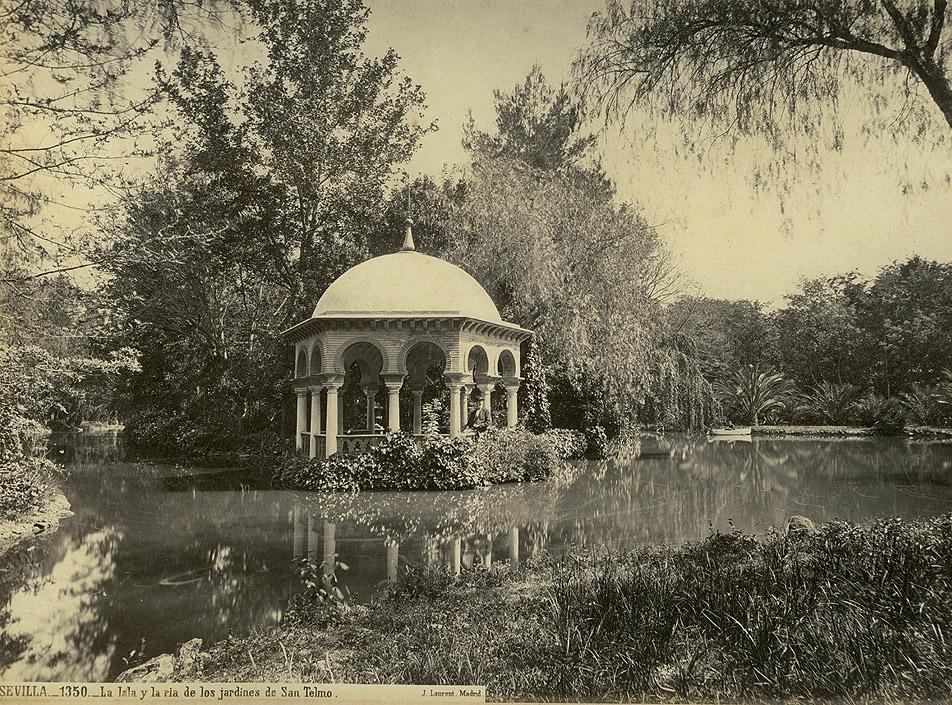 Jean Laurent: La Isla y la Ría de los jardines de San Telmo, ca. 1870.