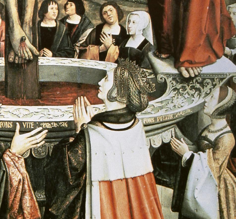 Círculo de Bernard van Orley (atrib.): Manuel I y María de Aragón y Castilla (detalle). Santa Casa de la Misericordia, Oporto.