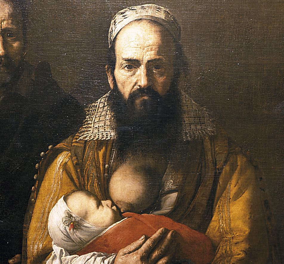 """José de Ribera: Magdalena Ventura, con su marido (detalle de """"La mujer barbuda""""), 1631. Fundación Casa Ducal de Medinaceli, Toledo."""