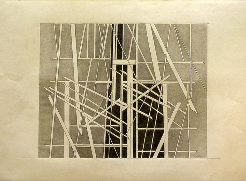"""Análisis producido por la superposición y transformación de los bocetos de Pablo Palazuelo, realizado por el autor: """"Sin título"""", ca. 1989. FPP 41-170."""