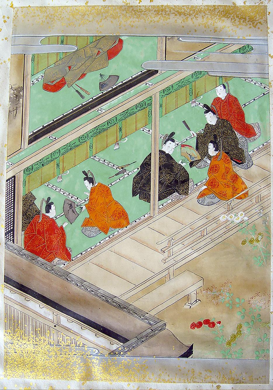 Sadahira recibe el abanico de manos del emperador [C.1].