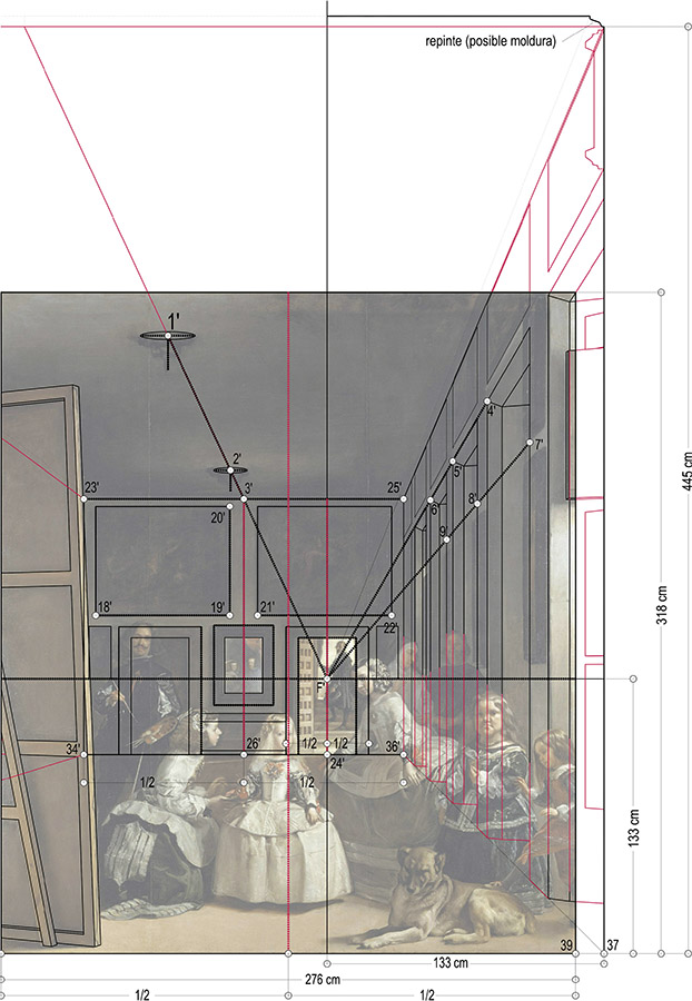Trazado de las principales líneas de fuga sobre Las Meninas. Dibujo de Fernando Zaparaín Hernández.