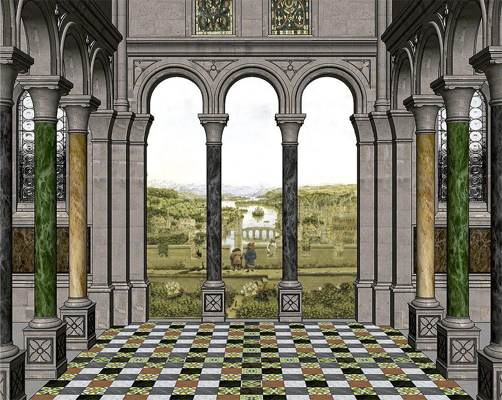 """Reconstrucción 3D del espacio de la """"Madonna Rolin"""" (© César López Pierre y Manuel Parada López de Corselas)."""