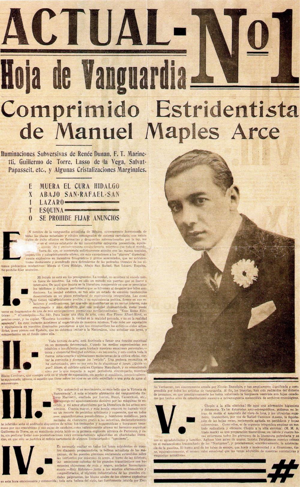 """""""Actual N.º 1: Hoja de Vanguardia. Comprimido Estridentista"""", México, diciembre de 1921."""