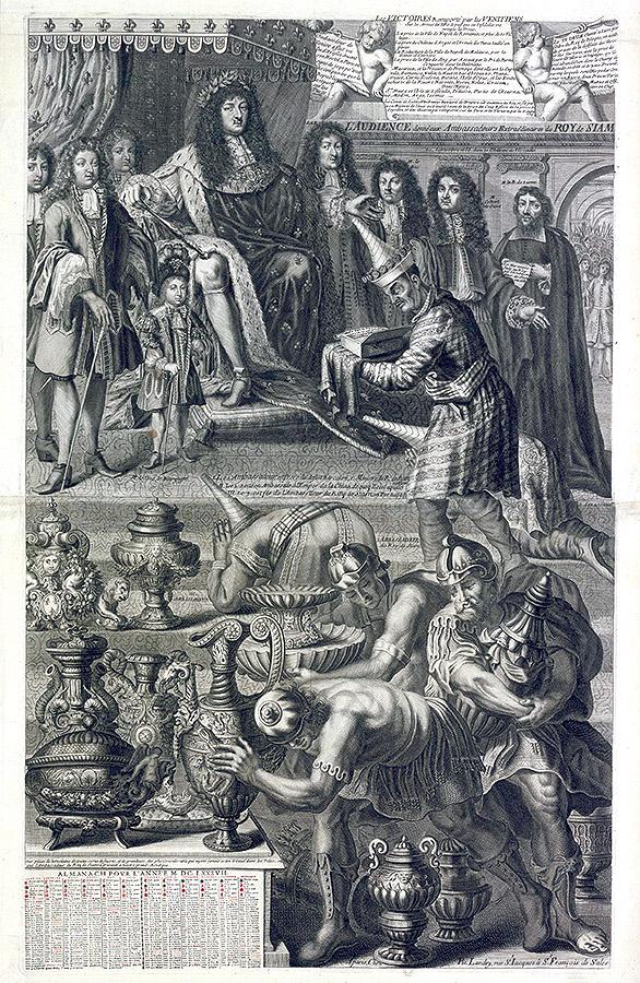 """Pierre Landry: """"Audiencia de Luis XIV a los embajadores extraordinarios del Rey de Siam en el palacio de Versalles"""", 1687. Source gallica.bnf.fr / Bibliothèque nationale de France, París."""