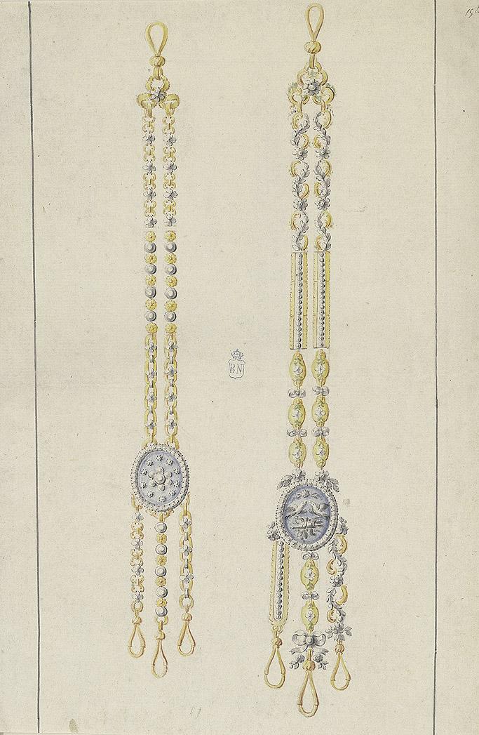 """""""Diseño para châtelaine"""", finales del siglo XVIII-principios del XIX. Biblioteca Nacional de España, Madrid."""