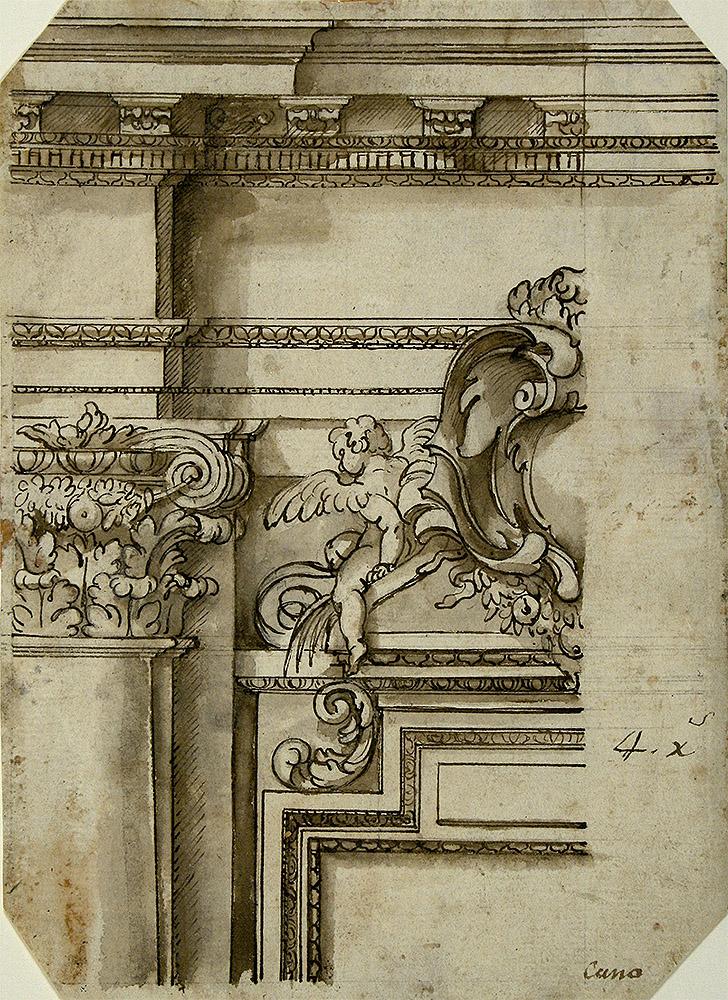 "Alonso Cano: ""Dibujo de detalle arquitectónico"", ca. 1655-1660. Biblioteca Lázaro Galdiano, Madrid."