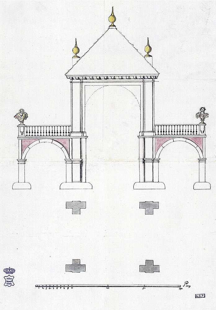 """Francisco de Herrera el Mozo: """"Proyecto de portada para la plazuela del Alcázar de Madrid"""", 1679. Archivo General de Palacio, Madrid."""