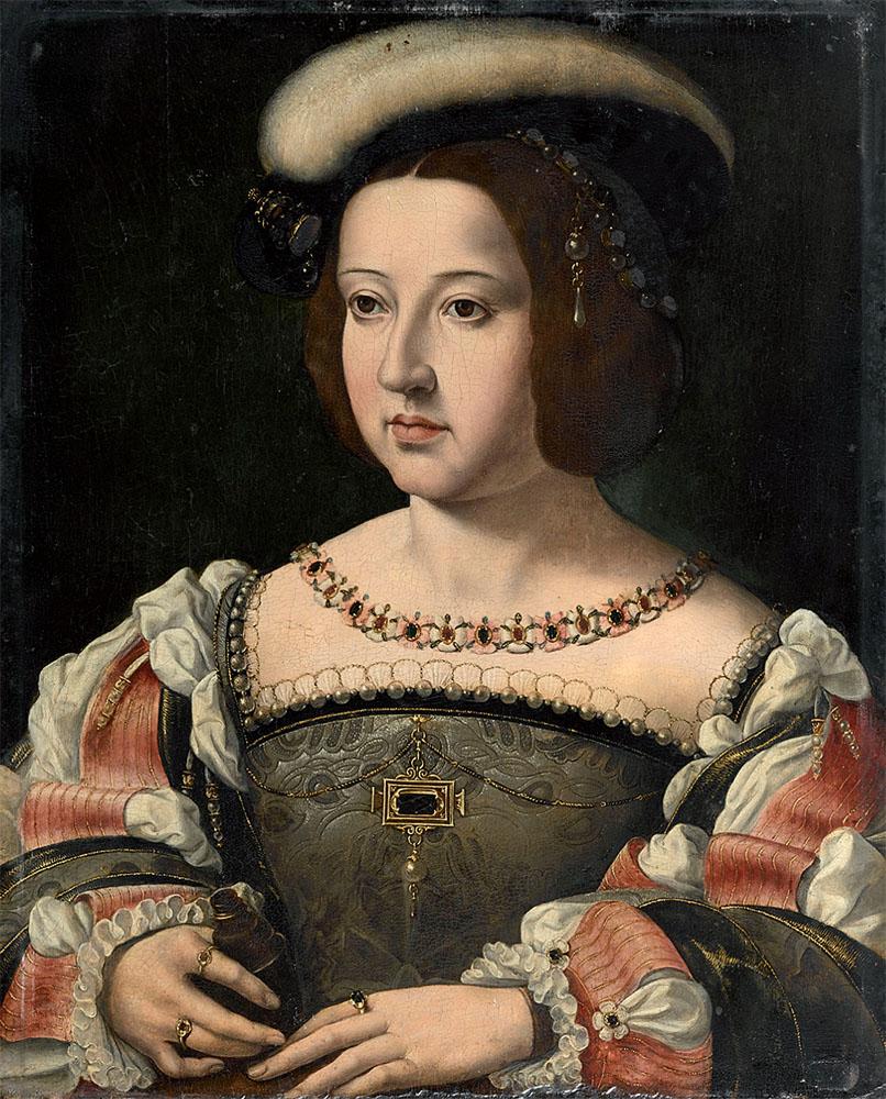 "Jean Gossaert (copia): ""Retrato de Mencía de Mendoza"", 1532-1535. Musée Condé, Chantilly."