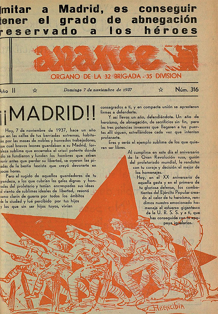 "José Arencibia: ""¡¡Madrid!!"". Avance, n.º 316, 7 de noviembre de 1937. Hemeroteca Municipal, Madrid."
