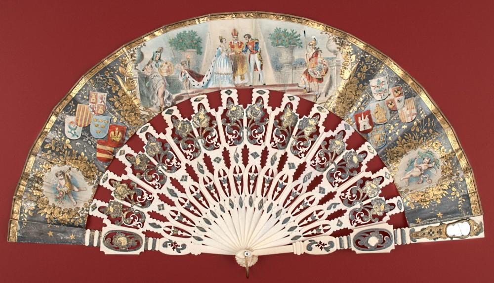 Abanico conmemorativo de la boda de Isabel II y Francisco de Asís (1846). Escuela española. Museo Lázaro Galdiano. Nº inv. 4307
