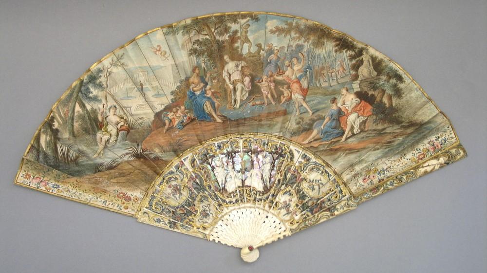 """Abanico """"Hércules y Onfalia"""", escuela italiana (1750[ca] - 1770[ca]). Museo Lázaro Galdiano nº inv. 4374"""