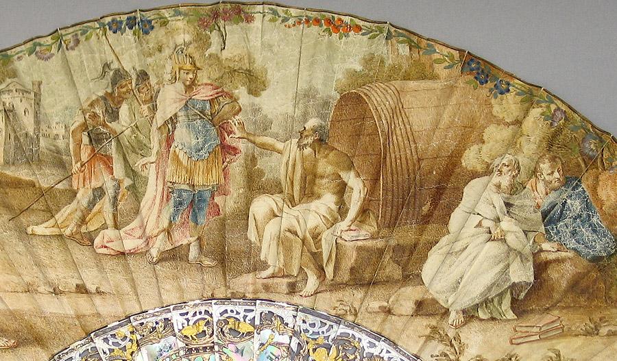 """Detalle del abanico """"Alejandro y Diógenes"""" (primera mitad del siglo XVIII), escuela romana. País montado a la inglesa, de piel pintado con goauche (Vuelo 166º)"""