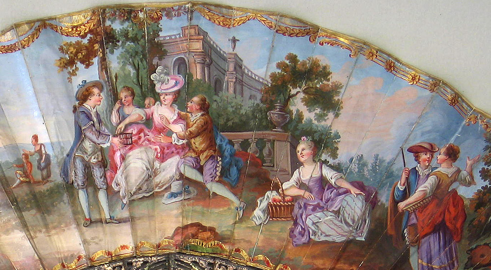 """Detalle del abanico """"Encuentro galante"""" (1760 [ca] - 1770 [ca]), Escuela francesa. País de gouache sobre piel."""