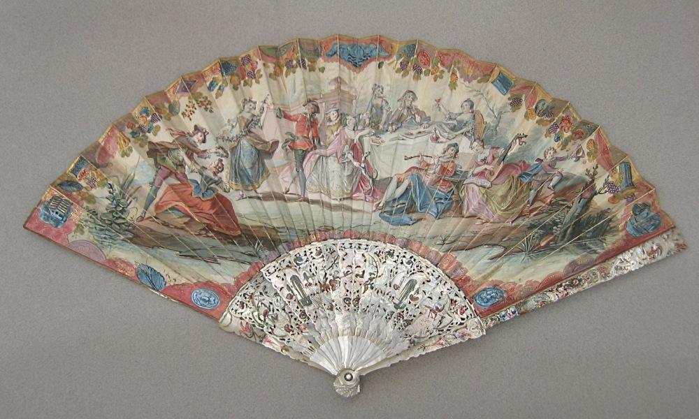 """Figura . Abanico """"Fiesta galante"""" (1726-1750), escuela italiana. Nº de inventario 317. Museo Lázaro Galdiano"""