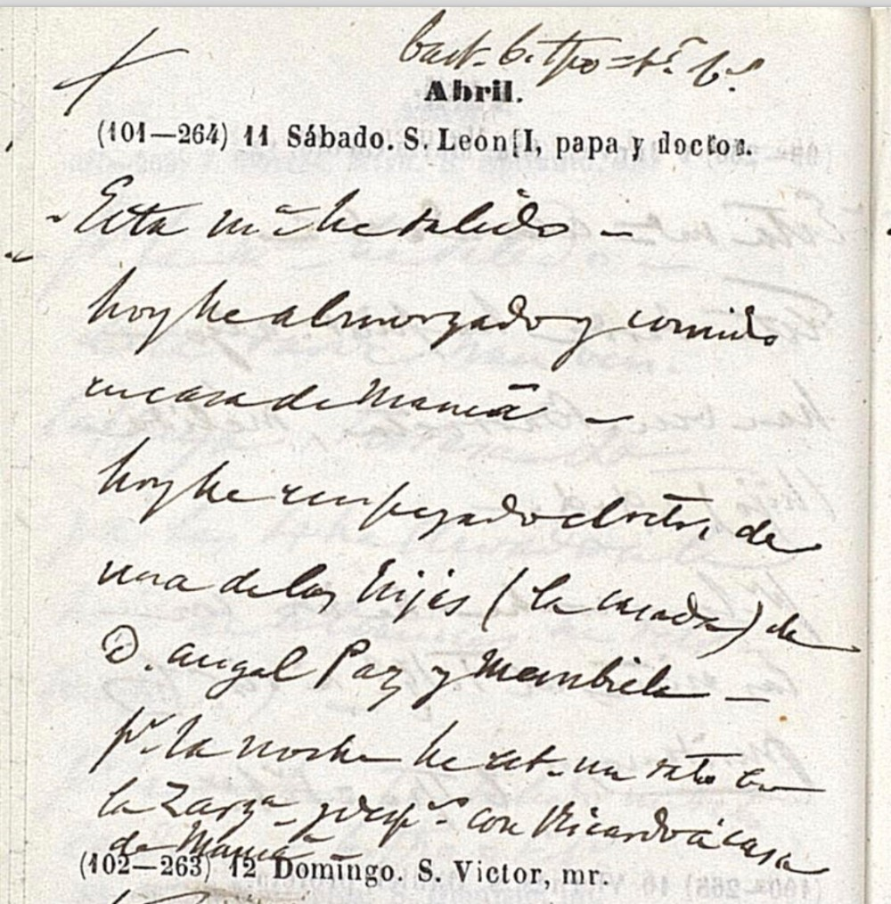 Agenda de Federico de Madrazo. 11 de abril de 1863. Museo del Prado