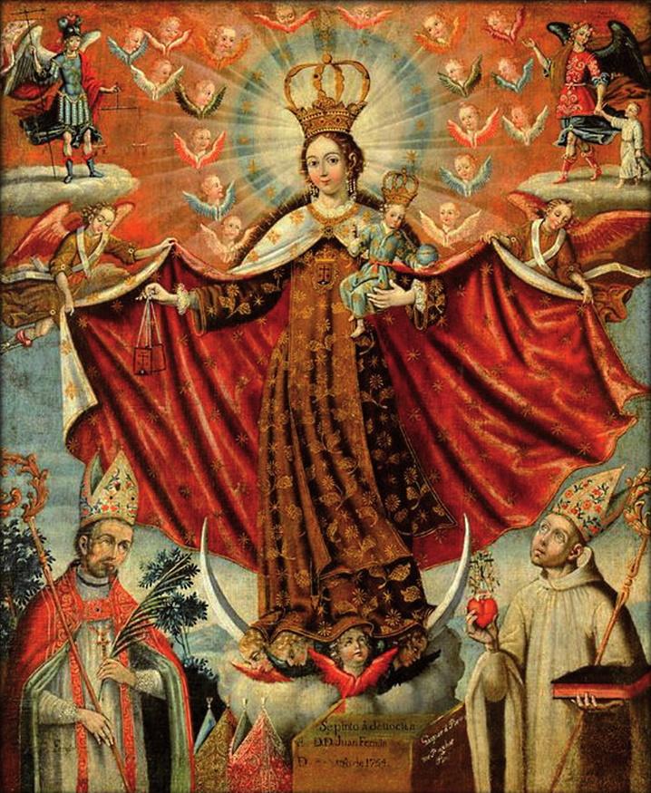 """Gaspar Miguel Berrío: """"Nuestra Señora del Carmen con obispos"""", 1754, Huber Family Collection."""