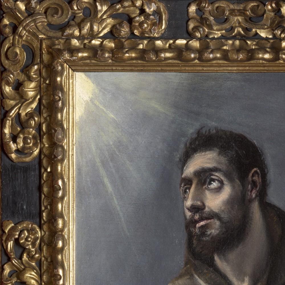"""Marco barroco español de principios del siglo XVII. Madera tallada, policromada y dorada. Obra """"San Francisco"""" de El Greco (1577-1580)."""