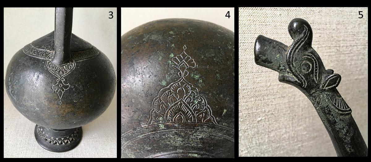 3, 4 y 5.- Detalles del aguamanil persa del Museo Lázaro Galdiano