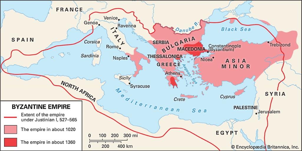 Fig. 3. Mapa de la evolución del Imperio Bizantino: siglo VI, hacia 1020 y en 1360. Fuente: Enciclopedia Británica.