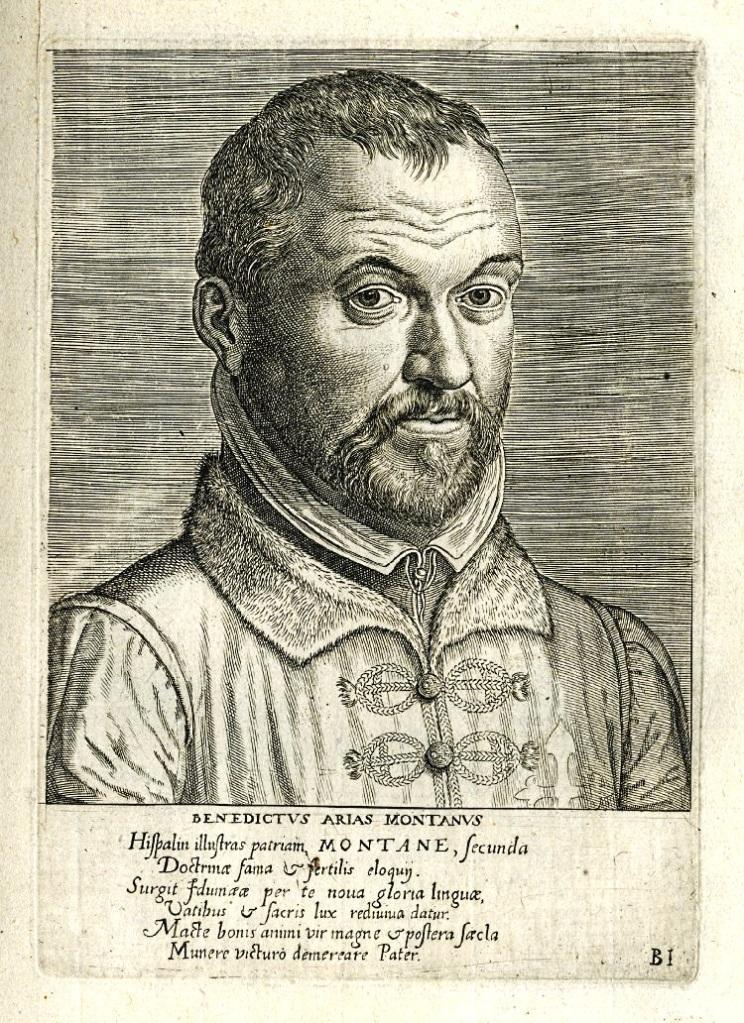 """""""Benito Arias Montano"""". Grabado de Philipp Galle a partir de un dibujo de Frans Pourbus el Viejo. """"Virorum doctorum de disciplinis benemerentium efigies"""", Amberes, 1572"""