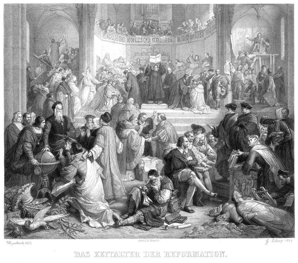 """Wilhelm vonKaulbach: """"La Era de la Reforma"""" (1860), pintura mural que decoraba la gran escalera del Neues Museum de Berlín. Grabado deGustav Eilers, 1868."""