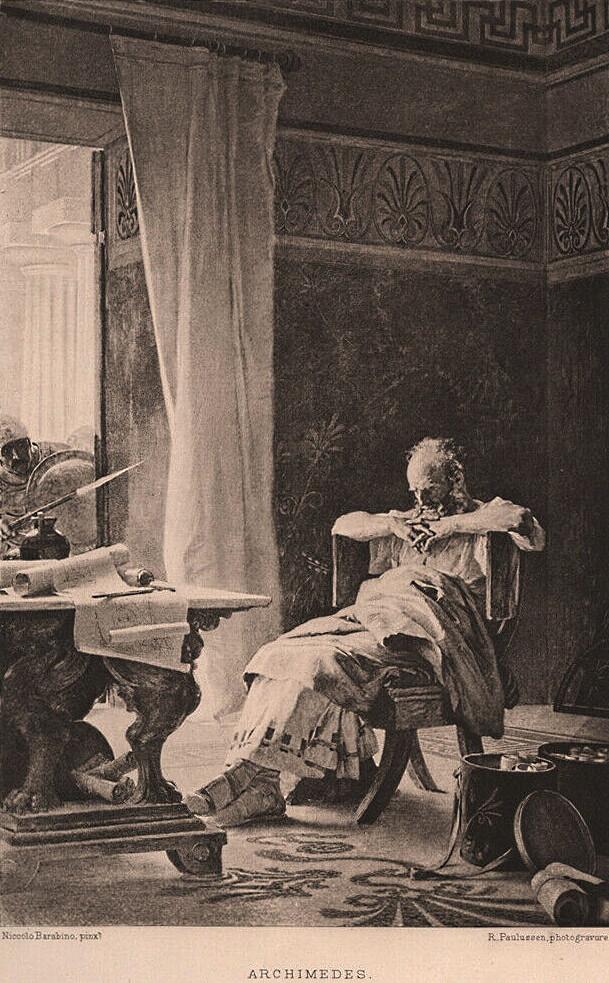 """Nicolò Barabino: """"Arquímedes"""" (ca. 1887). Fotograbado de Richard Paulussen, 1892."""