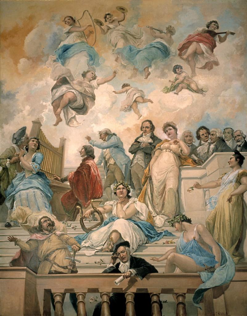 """Techo """"Alegoría de la Música"""" (1906-7) por Eugenio Lucas Villamil. Museo Lázaro Galdiano"""