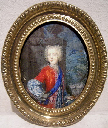 Catharina Sperling-Heckel (atrib.), Carlos Eduardo Estuardo. Gouache sobre marfil, 100 x 120 mm. Leon Wilnitsky. Alte Kunst (Viena).