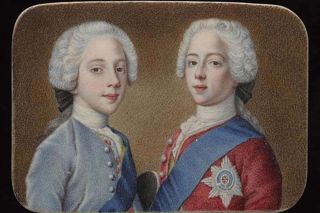 Enrique Benedicto y su hermano Carlos Eduardo Estuardo, ca. 1736-1738. Acuarela y gouache sobre marfil, National Museum de Escocia.