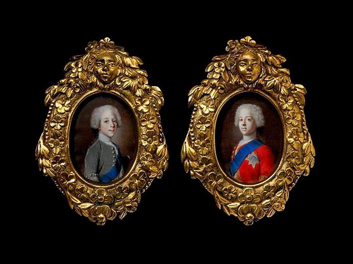 Enrique Benedicto y su hermano Carlos Eduardo Estuardo, ca. 1736-1738. Acuarela y gouache sobre vitela, 74 x 55 mm. Tomasso Brothers Fine Art (TEFAF, 2015).