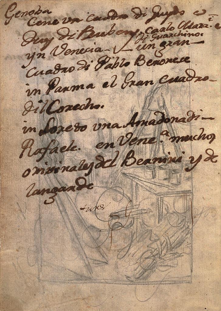 """Francisco de Goya: """"Cuaderno italiano"""", 1771, p. 172r, Museo Nacional del Prado, Madrid."""