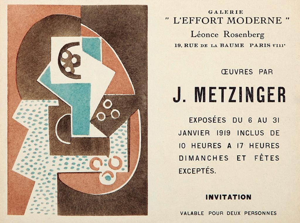 Invitación de la exposición dedicada a Jean Metzinger en la Galerie L'Effort Moderne, 1919.