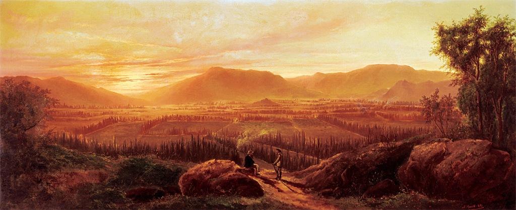 """Antonio Smith: """"Puesta de sol en las cordilleras de Peñalolén"""", ca. 1875. Colección V. Unzurrunzaga Gazmuri, Santiago, Chile."""