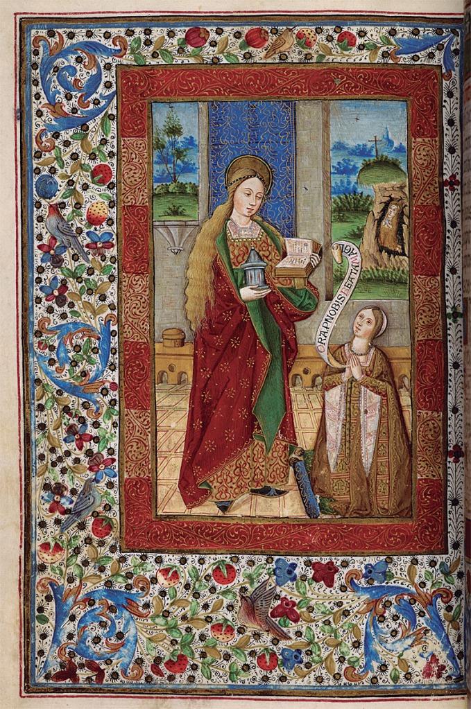 """""""Libro de Horas"""". Londres, British Library, Add. ms. 18.193, fol. 143v, fines del siglo XV. María Magdalena y donante."""