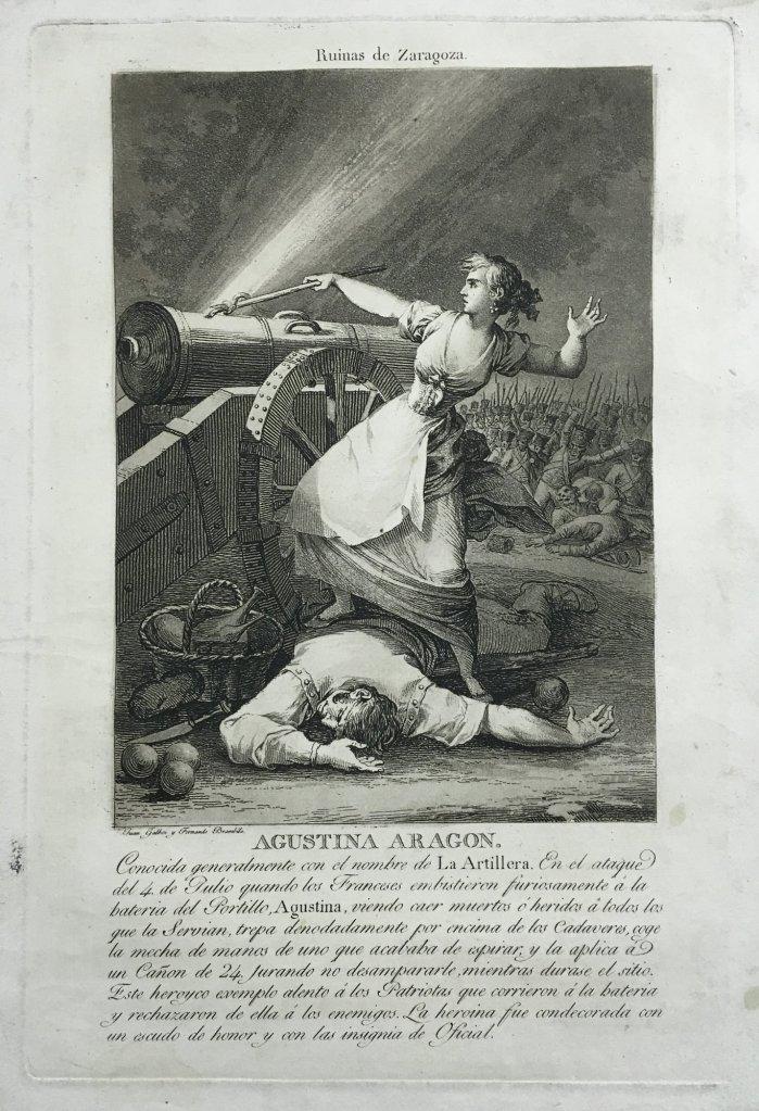 Juan Gálvez y Fernando Brambila. Agustina de Aragón. Cádiz, 1812-1813. Aguafuerte, aguatinta y punta seca sobre papel. Inv. 14849-086