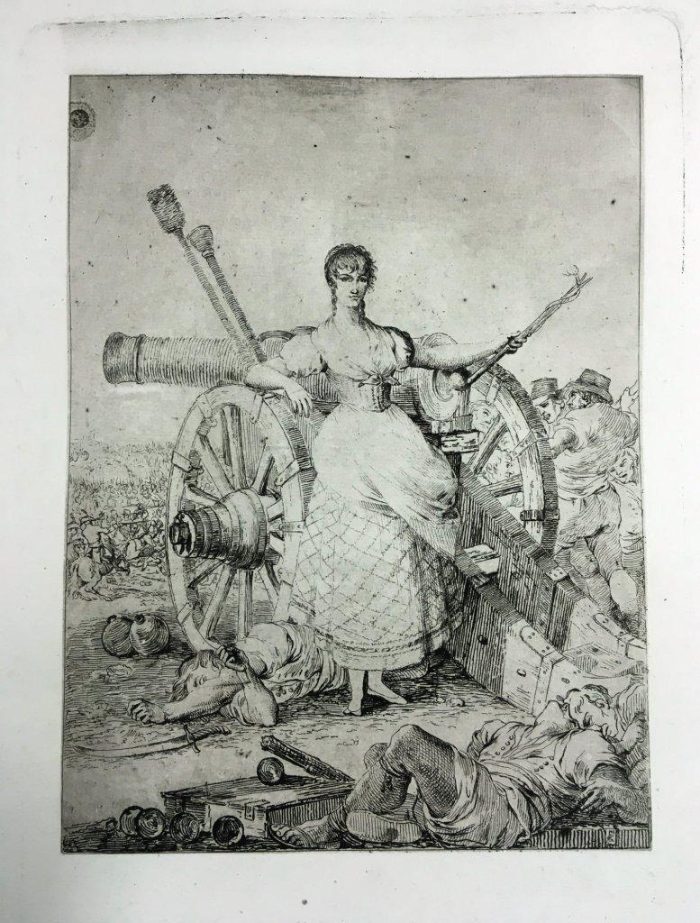 """Juan Gálvez. Agustina de Aragón. Cádiz, 1812-1813. Aguafuerte sobre papel con filigrana en forma de venera y letras """"N.0"""". Prueba de estado antes de la letra. Inv. 14849-073"""
