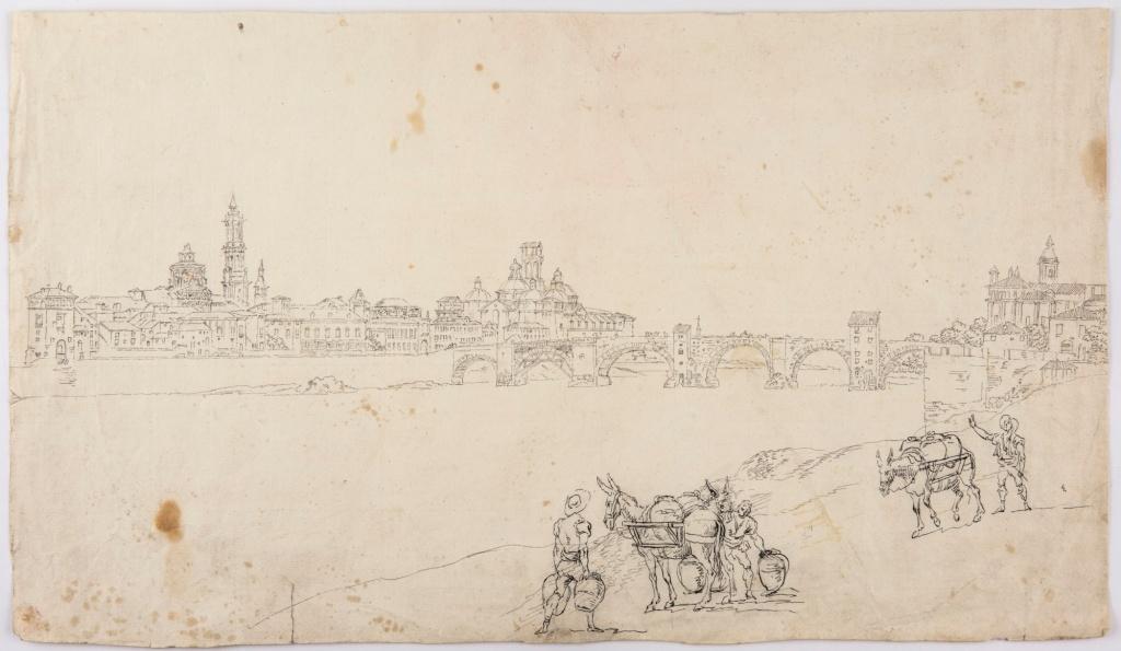 """Fernando Brambila y Juan Gálvez. """"Vista de Zaragoza"""". 1808. Tinta negra sobre papel verjurado con filigrana """"J. KOOL"""" bajo león rampante con espada y haz de flechas. Inv. 8800"""