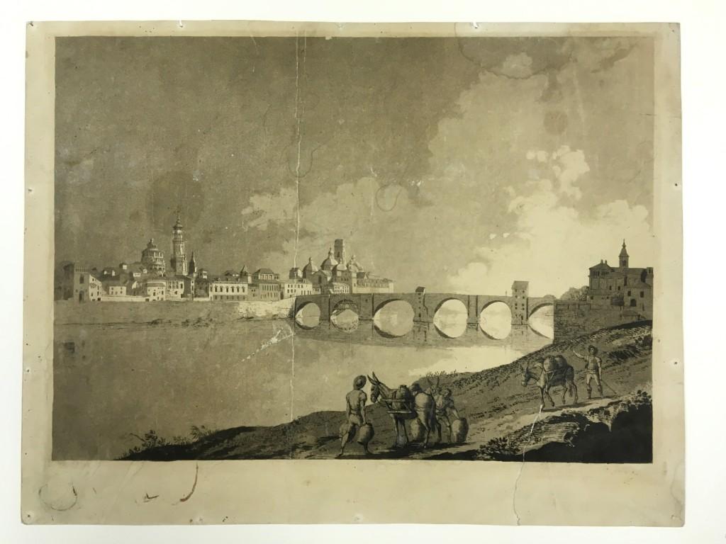 """Fernando Brambila y Juan Gálvez. """"Vista de Zaragoza"""". Cádiz, 1812-1813. Aguafuerte y aguatinta sobre papel. Prueba de estado antes de la letra y, muy posiblemente, ejemplar único. Inv. 14849-076"""