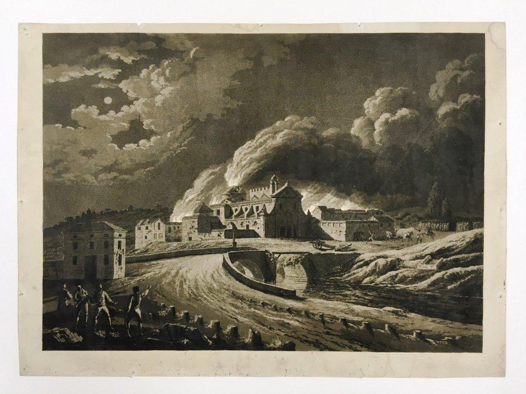 """Fig. 5. Fernando Brambila y Juan Gálvez. """"Vista del convento de San José incendiado por los franceses"""". Cádiz, 1812-1813. Aguafuerte y aguatinta sobre papel. Prueba de estado antes de la letra. Inv. 14849-074"""