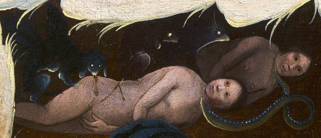 """Detalle de """"La visión de Tondal"""". Adán y Eva tras su expulsión del paraíso"""