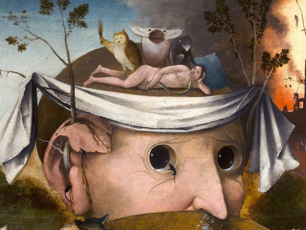"""Detalle de """"La visión de Tondal"""". La gran cabeza, Adán y el paño de pureza de Cristo"""
