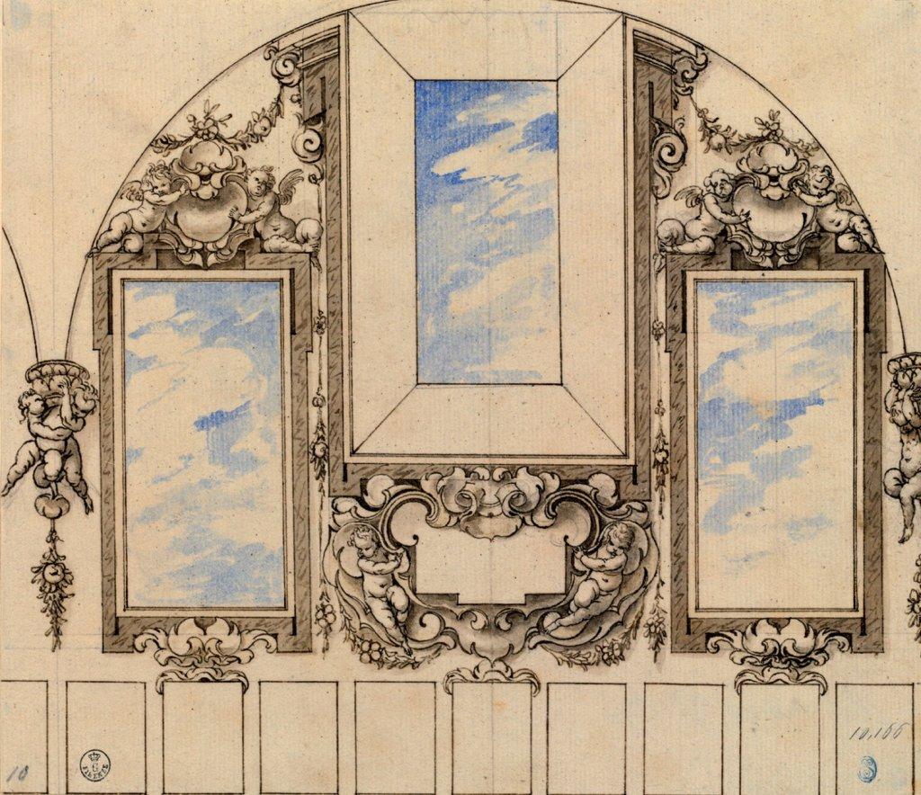 Sebastián de Herrera Barnuevo: Diseño para decoración de yeserías y decoración mural, 1663. Gabinetto Disegni e Stampe degli Uffizi, Florencia.