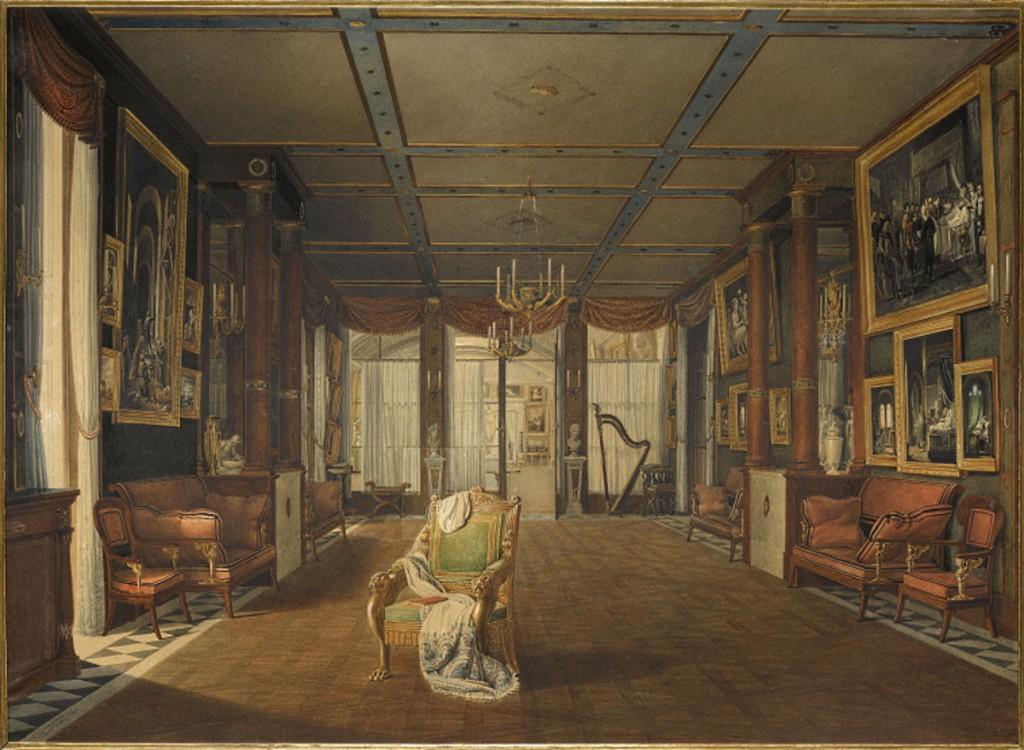 Auguste Garneray. Vista del salón de música de la emperatriz Josefina. 1812. Musées nationaux de Malmaison.