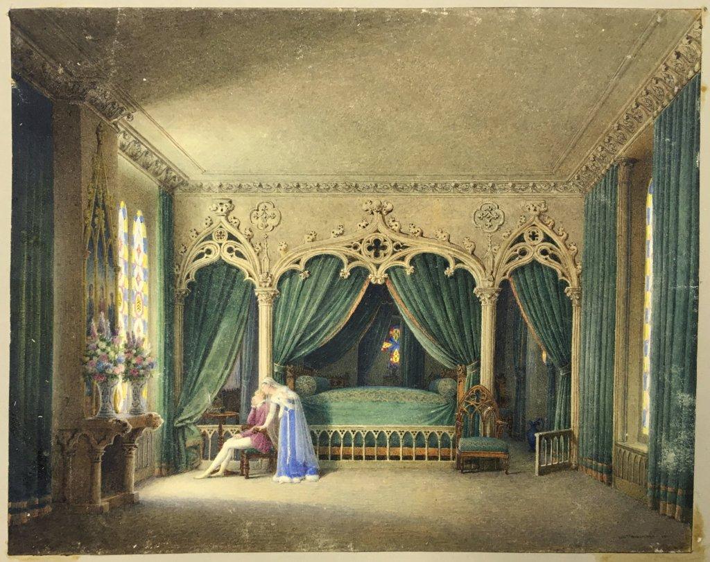 Fig. 1. Auguste Garneray. Una pareja en un interior gótico. 1817. Acuarela sobre papel, 170 x 215 mm. Inv. 10017
