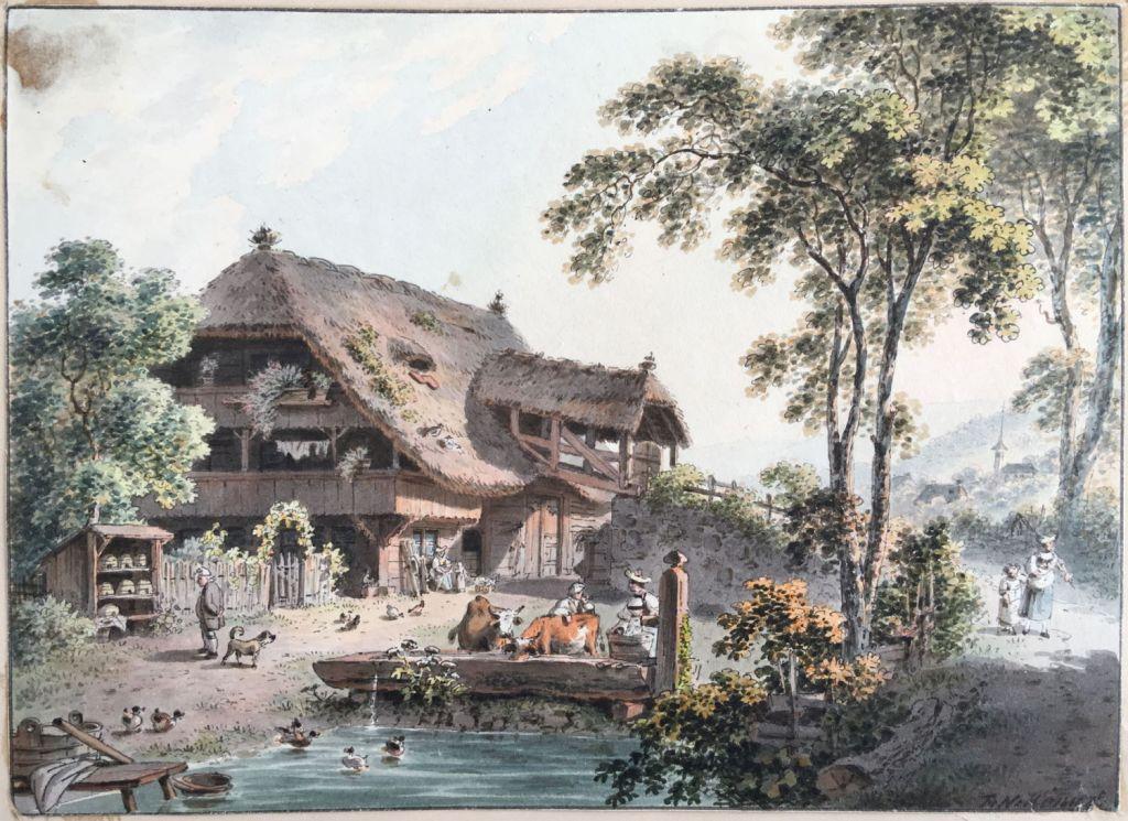 Fig. 1. Franz Niklaus König. Casa de campo bernesa, hacia 1800. Tinta y acuarela sobre papel, 156 x 214 mm. MLG. Inv. 10022